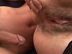 Mature unshaved stepmom helping younger penis