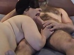 Masked chubby mature wife gives nice sucking and licking  to her hairy hubby\'s large dick - short but sweet