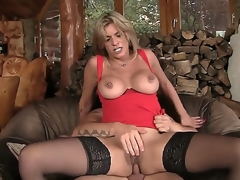 Blonde MILF gets her a-hole pounded by a huge cock and later gives him a deep throat blowjob