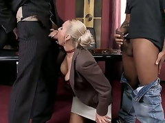 Swarthy chaps are spending unforgettable time with one nasty blond milf. That babe kneels and sucks their corpulent rods first of all. Watch how they are double penetrating her next.