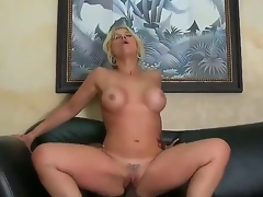 Very sexy and appetizing Milf blonde Sarah Vandella with the indescribable titties sucks the big dark instrument of her boss  that babe makes this very hot and with a pleasure! Then they fuck.
