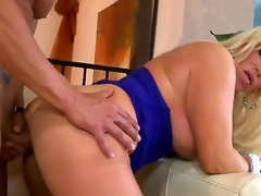 Slutty turned on blonde milf Alexis Diamond with massive hooters and big juicy wazoo in sexy dress and high heels gets her minge pounded hard by muscled stud in doggy style act