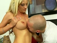 Turned on experienced seductive blonde milf Sindy Lange with giant stunning hooters and tight ass in arousing lingerie gets her sweet cunt liked by younger horny handsome stud