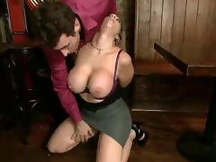 Taskmaster turned on famous pornstar James Deen gets his stiff dong sucked by lusty experienced milf Sara Jay with huge stunning hooters in steaming hot coarse blowjob session