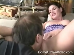 Milf with amazing perky tits licked by her dude