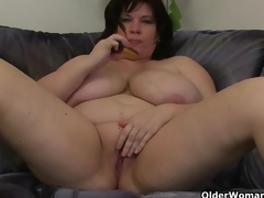 Chubby mammas with big tits having solo sex