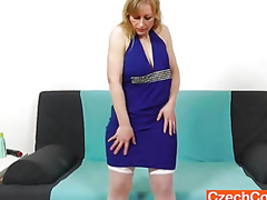 Susan Golden-haired plays with marital-device