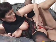 Woman in underware copulates with chap
