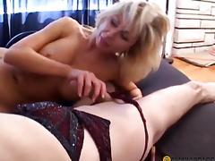 Sex toy girlfriend chap fidgets his lectern