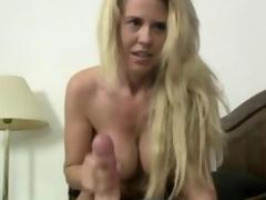 Blonde Milf wanking his cock in pov
