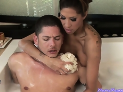 Soapy massage and sensual feetjob and blowjob in the bathtub