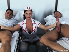 The hot brunette hair nurse is there to check on the patients and to satisfy her needs