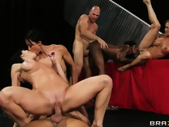 Busty strumpets get their fine booty bodies pounded by 2 lucky dudes