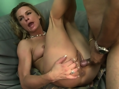 The hot blond spreads her fascinating legs and allows that big dong deep in her love tunnel