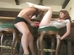 Milf pleasures a youthful redheaded gal